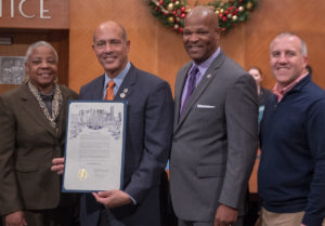 Charic Jellins, Yellowstone College Prep Board Chair Lionel Jellins, Houston City Council Member Dwight Boykins, Yellowstone College Prep Superintendent Ryan Dolibois